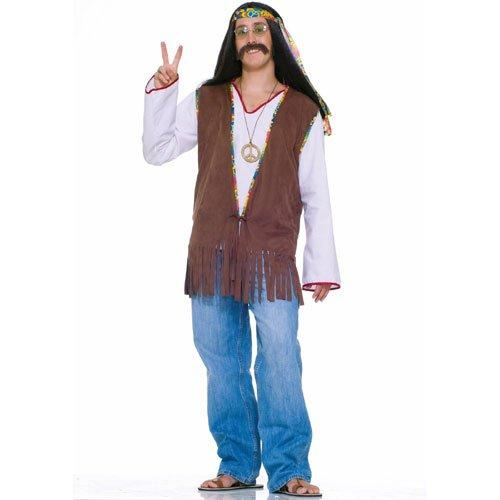 Forum Novelties Men's Generation Hippie Costume Vest, Brown, One (Hippy Costume)