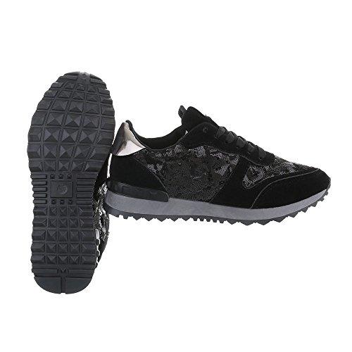 Low G Schnürsenkel 97 Sneakers Design Damenschuhe Ital Freizeitschuhe Schwarz wxaWq1HnzS