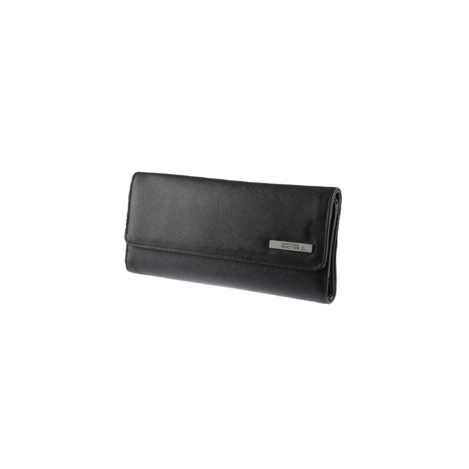 Kenneth Cole Reaction Womens Saffiano Tri Me A River Wallet (Black)