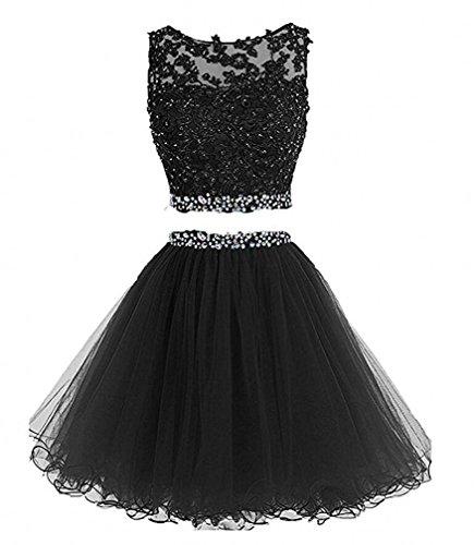BD122 Prom Beaded Two short Piece black back Evening Tulle Bessdress Dress Dress Open A6xFawnzq