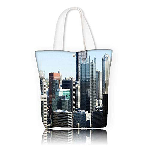 Canvas Tote Bag —W15 x H14 x D4.7 INCH/work school Shoulder Bag USA American Architecture Pittsburgh PA Skyline Pennsylvania Modern Cityscape Grey Silver Light Blue. ()