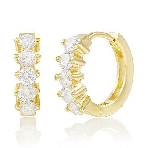 Spoil Cupid Yellow Gold-Plated Sterling Silver Cubic Zirconia 2-Prong Set Huggie Hoop Earrings