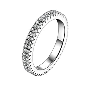 925 Sterling Silver CZ Simulated Diamond Endless Eternity Promise Ring Band Stackable for Women Size 5