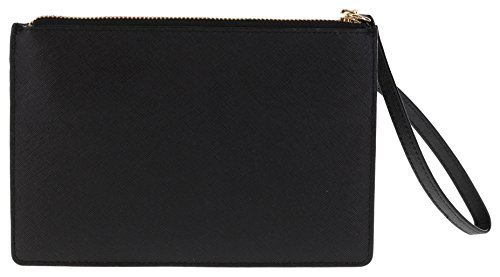 Kate Spade New York Tinie Laurel Way Saffiano Leather Wristlet Handbag Clutch (Black)