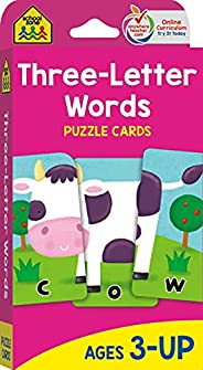School Zone - Three-Letter Words Puzzle Flash Cards - Ages 3+, Preschool to Kindergarten, Letters, Letter Reco