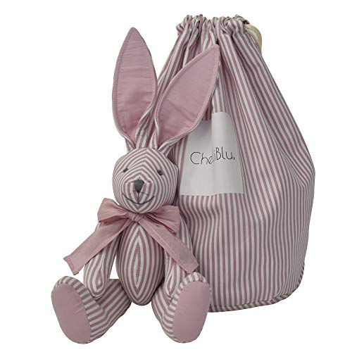 Baby Nursery Decor Plush Toy Rabbit Pink - Luxury Handmade Keepsake Bunny with Stylish Bag for Baby Girl or Baby Boy | Best Gift for Baby Shower Newborn Toddler and Gift Box | Cotton | 16 Inch