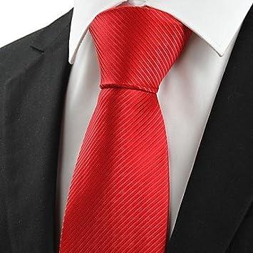 FYios®New Classic Rojo escarlata hombres corbata rayas Corbata de ...
