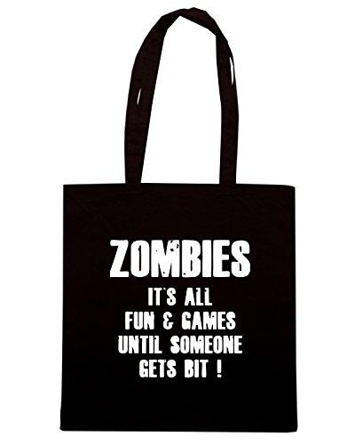 T-Shirtshock - Bolsa para la compra TZOM0073 zombies fun and games Negro