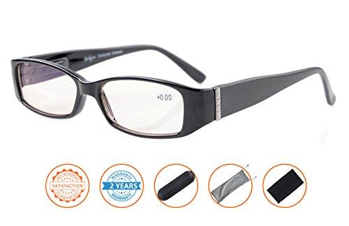 UV Protection,Anti Blue Rays,Reduce Eyestrain,Computer Reading Glasses Women(Black,Amber Tinted Lenses) without - To Eye Reduce Computer Glasses Strain