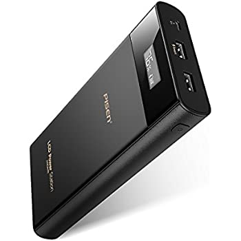 PISEN 20000mAh Power Bank, Dual-USB Output Portable Battery Charger Power Station, High Capacity External Battery Pack LCD Display, Universal Travel Charger for iPhone 8, Samsung and More