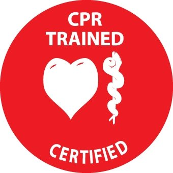 NMC HH70 2'' x 2'' PS Vinyl Hard Hat Emblem w/Legend: ''CPR Trained Certified'', 12 Packs of 25 pcs