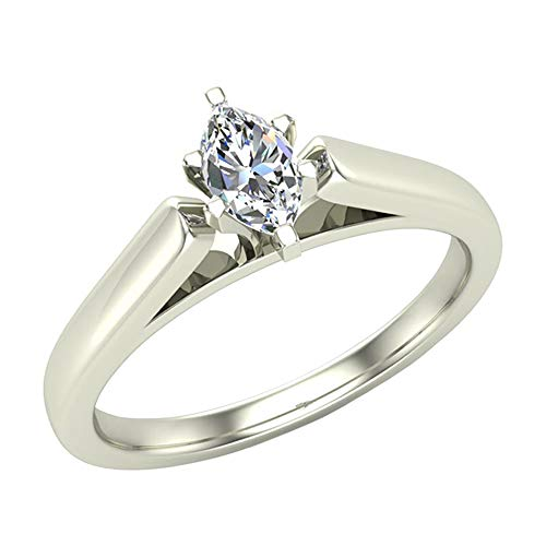 1/4 ct tw I I1 Marquise Diamond Cathedral Setting Engagement Ring 14K White Gold (Ring Size 8) ()