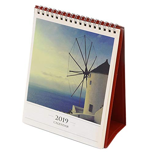 Olpchee World Scenery 2019 Desktop Calendar Beautiful Cover Calendar with Stand for School Office Supplies (Windmill)