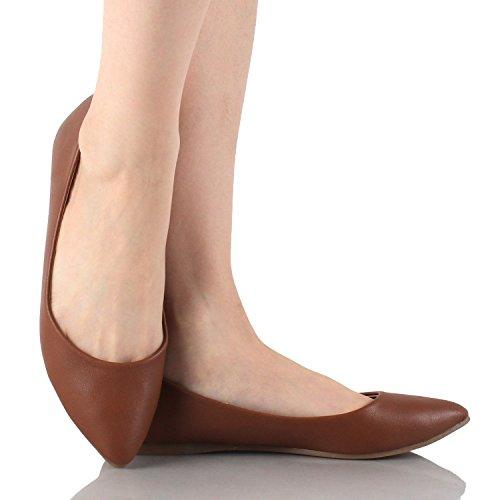 Bella Marie Womens Klassische Spitzen Zehen Ballett Slip On Flats-Shoes Bräunen
