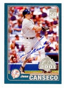 Jose Canseco autographed baseball card (New York Yankees) 2001 Topps #104 Opening Day
