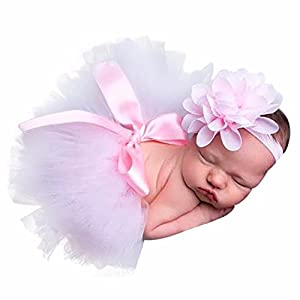 Clearance! Newborn Baby Girls Photo Photography Prop Tutu Skirt Headband Outfit Clothes Set (F)