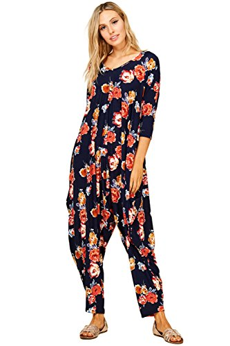 Annabelle Women's Long Sleeve Floral Prints Comfy Harem Jumpsuit Romper With Pockets Small Floral Navy J8043B