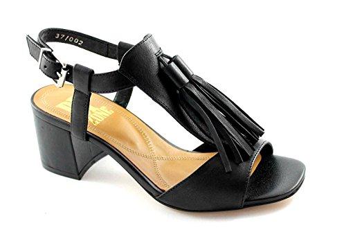 de Nero Cuero Sandalias Zapatos Correa Negros Franja Zona F2401N Mujer BP Tacón de 7Hqpvw6f