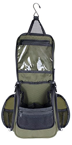 Compact Hanging Toiletry Bag & Organizer | Water Resistant, Mesh Pockets, Sturdy Hook Green