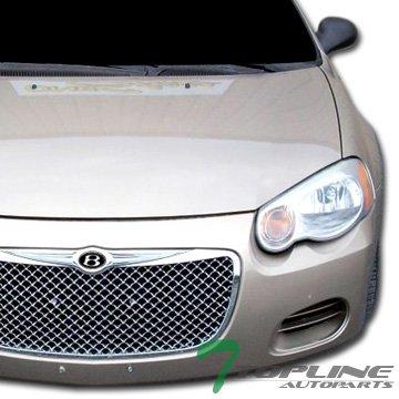 Topline Autopart Chrome Mesh Front Hood Bumper Grill Grille ABS For 04-06 Chrysler Sebring 4 Door Sedan / 2 Door Convertible