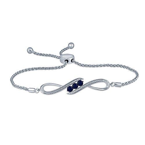 0.56 Cttw Round Natural White Diamond Blue Sapphire Adjustable Infinity Bolo Bracelet (Diamond Blue Bracelet Sapphire)