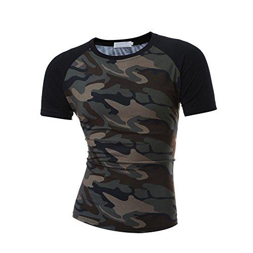 Winsummer Men's T Shirts,Men Casual Slim Fit T-Shirt Raglan Short Sleeve Cotton Tee Shirt Camouflage by Winsummer (Image #2)