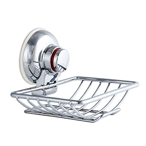 MEÉLIFE Suction Cup Soap Dish Holder Stainless Steel Wall Mount for Shower Kitchen Sponge Hook Holder Chrome ()