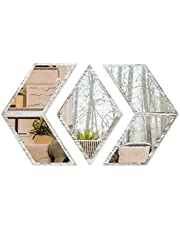 J JACKCUBE DESIGN Boho Wall Mount Decorative Mirror Set - Rustic White Wash Wood Bohemian Vintage Mirror Wall Décor for Living Room, Bedroom, Office, Entryway- MK1054A