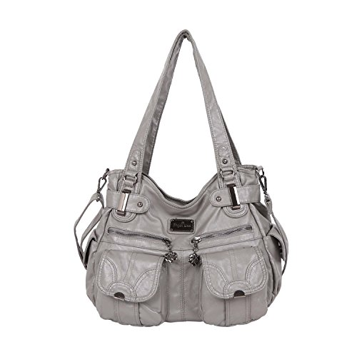 Angelkiss Double Zipper Shoulder bag Top-Handle Washed PU Leather Tote Large Capacity (Grey) Pocket Large Handbag