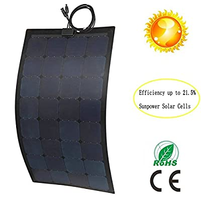 GreeSonic SunPower Semi Flexible Solar Panel 100W (ETFE+Fiberglass) Photovoltaic Solar Panel (Corrosion-resistant) with MC4 connectors with MC4 connectors