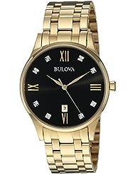Bulova Mens Quartz Stainless Steel Dress Watch, Color:Gold-Toned (Model: 97D108)