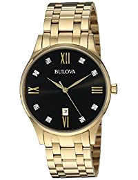 Bulova Mens 97D108 Dress Black Dial Watch
