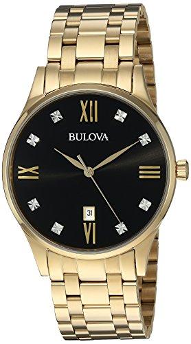 Bulova Men's Quartz Stainless Steel Dress Watch, Color:Gold-Toned (Model: 97D108) (Black Dial Mens Bulova Diamond)