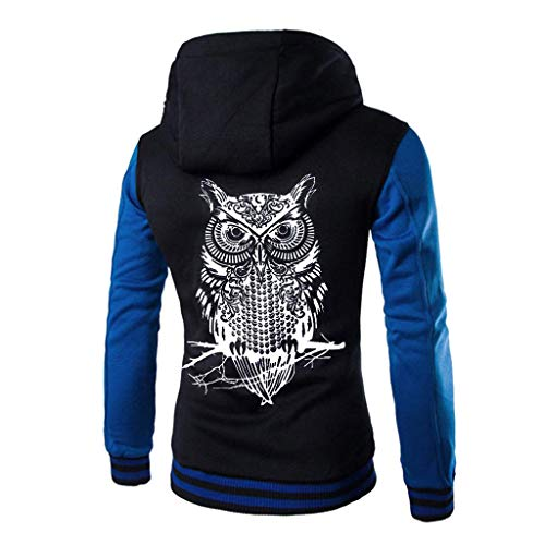 HULKAY Plus Size Hooded Jackets for Men Upgrade Long Sleeve Owl Print Patchwork Button Jacket Thick Outwear Coat(Blue,5XL) ()