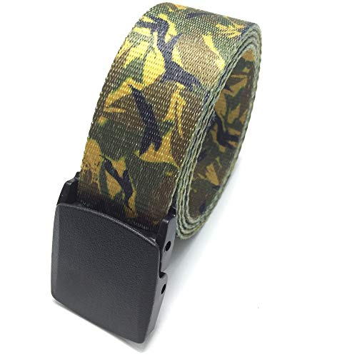 PIDAIKING Canvas Belt,Yellow-Green Camouflage Hypoallergenic, Smooth Belt, Digital Indonesian Dragon Belt, Casual and Simple, Outdoor Sports, Comfortable and Breathable, for Men and Women