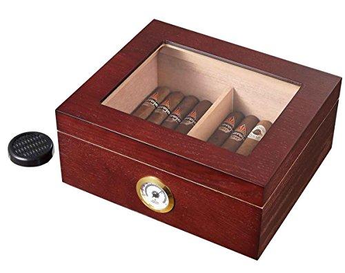 Visol VHUD301 Santa Clara Glass Top with Rosewood Finish Cigar Humidor with 50 Cigars Santos Rosewood Veneer
