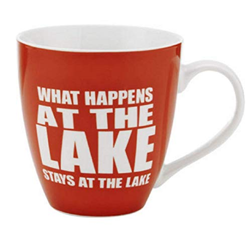Pfaltzgraff Everyday What Happens At The Lake Stays At The Lake Large Red Coffee Mug - 18 Ounces