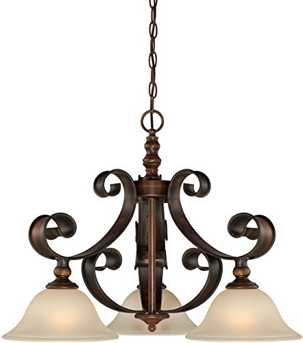 Tier Frosted Glass 1 Chandelier - Jeremiah 28072-SPZ Seville 3 Light Breakfast Nook Chandelier In Spanish Bronze with Creamy Frosted Glass