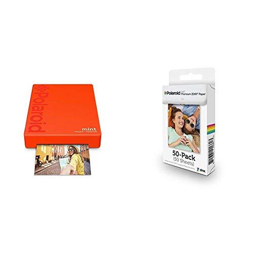 Polaroid Mint Pocket Printer - Red with with Polaroid 2x3ʺ Premium Zink Zero Photo Paper 50-Pack