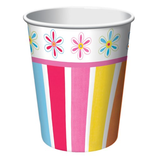 Creative Converting Pink Flower Cheer 8 Count Paper Cups, 9-Ounce