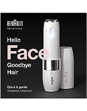 Braun Face FS1000 gezichtsscheerapparaat voor dames, met geïntegreerd Smartlight-licht, voor het verwijderen van gezichtshaar met precisie, bovenlip, kin en wangknoppen, wit