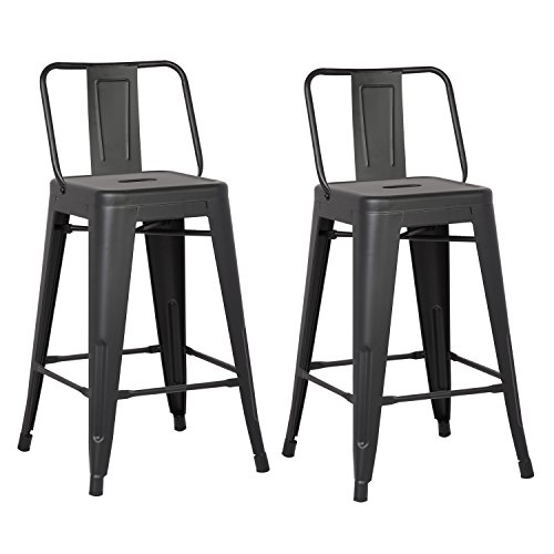 "AC Pacific Modern Industrial Metal Barstool with Bucket Back and 4 Leg Design, 24"" Seat Bar Stools (Set of 2), Matte Black Finish"