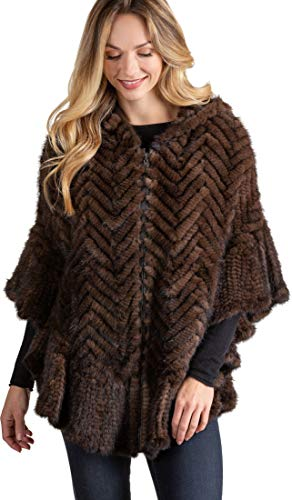- Overland Sheepskin Co Bettina Zip-Front Herringbone Knitted Mink Fur Poncho Brown