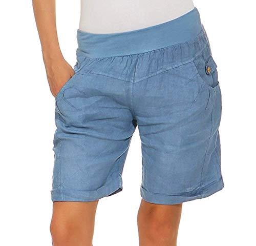 BBesty Big Sale Women's Summer Fashion Casual Solid Elastic High Waist Button Pocket Wide Leg Pants Shorts Blue