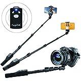 Fugetek FT-568 Professional High End Selfie Stick Monopod, for Apple, Android, Gopro, DLSR Cameras, Removable Wireless Bluetooth Remote (Black)