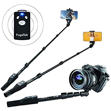 Fugetek 49  Selfie Stick Monopod Professional High End FT-568, For Apple iPhone, Android Samsung, & DLSR Cameras, Aluminum Alloy, Rechargeable Wireless Bluetooth Remote (Black)