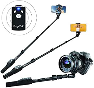 """Fugetek 49"""" Selfie Stick Monopod Professional High End FT-568, For Apple iPhone, Android Samsung, & DLSR Cameras, Aluminum Alloy, Rechargeable Wireless Bluetooth Remote (Black)"""