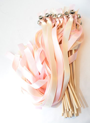 50 Ribbon Bell Wands ~ Soft Pink AKA Tickled & Ivory ~ Wedding Ribbon Bell Wands ~ Divinity Braid ~ Send Off Bells