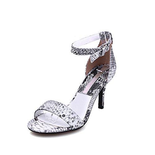 VogueZone009 Women's Blend Materials Solid Buckle Open Toe High-Heels Sandals Gray