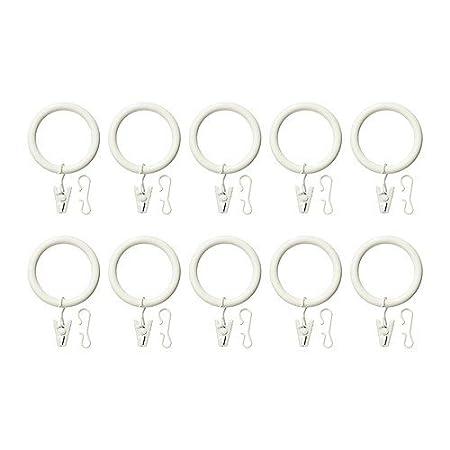 anneau de rideau avec pince et crochet blanc paquet de 10-38 mm IKEA SYRLIG